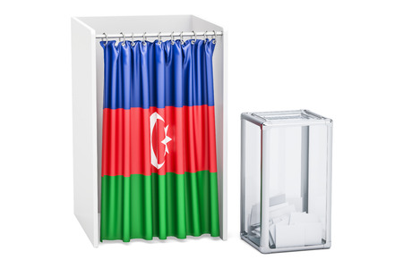 Azerbaijan election concept, ballot box and voting booths with flag of Kirghizia, 3D rendering