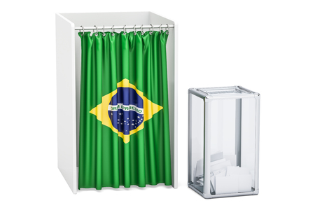 Brazilian election concept, ballot box and voting booths with flag of Brazil, 3D rendering