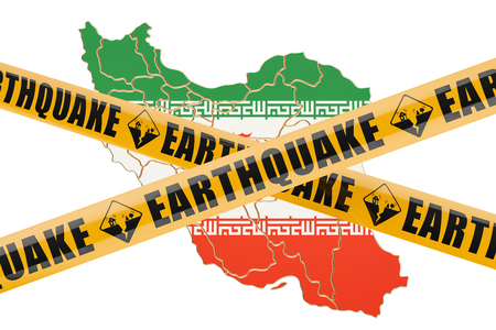 cordon: Earthquake in Iran concept, 3D rendering isolated on white background