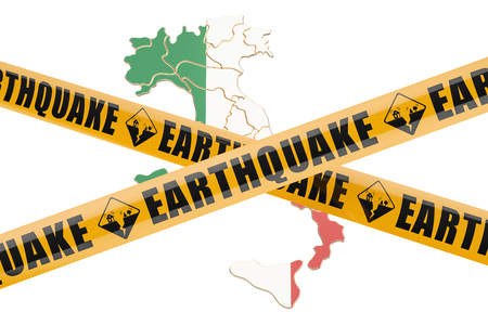 cordon: Earthquake in Italy concept, 3D rendering isolated on white background