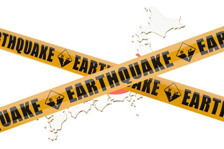 cordon: Earthquake in Japan concept, 3D rendering isolated on white background
