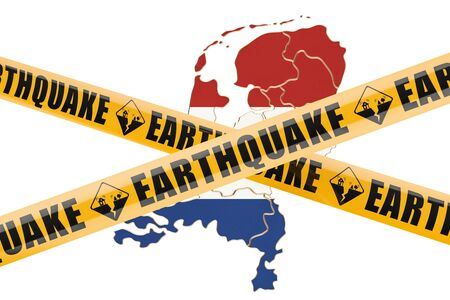 Earthquake in Netherlands concept, 3D rendering isolated on white background