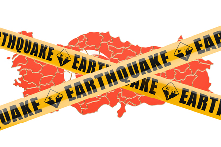 Earthquake in Turkey concept, 3D rendering isolated on white background