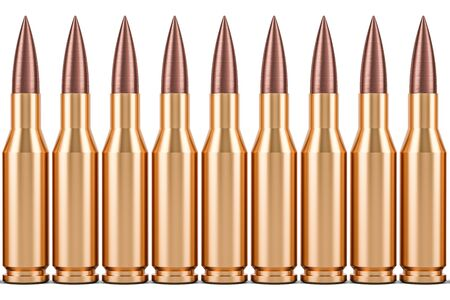 Bullets in a row, 3D rendering isolated on white background