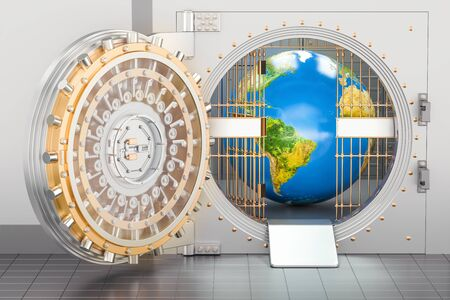 지구 글로브 은행 금고 안에. 보안 및 보호 개념, 3D 렌더링