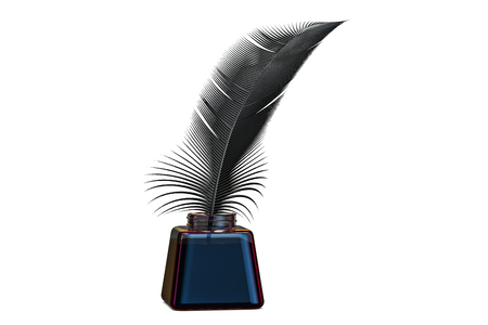 Feather and ink bottle, 3D rendering  isolated on white background Stock Photo