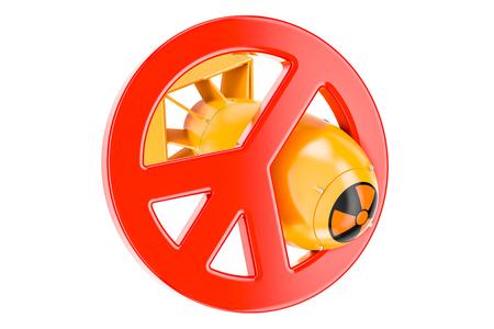 핵무기 금지 개념, 흰색 배경에 고립 된 3D 렌더링