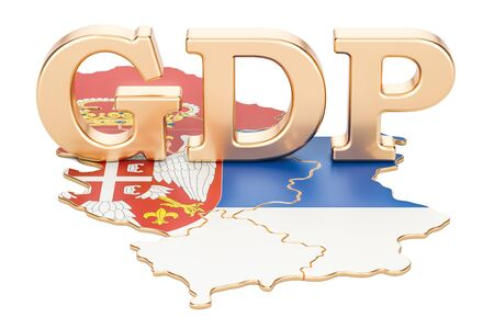 gross domestic product GDP of Serbia concept, 3D rendering isolated on white background