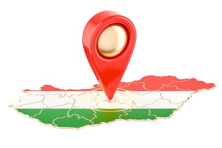 hungarian pointer: Map pointer on the map of Hungary, 3D rendering isolated on white background