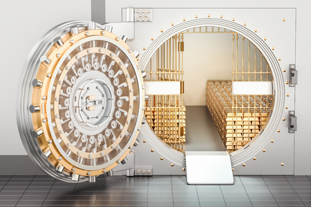 Open Bank Vault with golden ingots, 3D rendering Stock Photo
