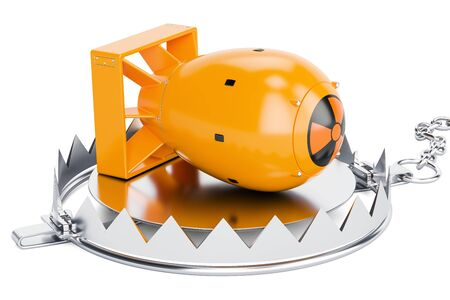 bear trap: Trap with nuclear bomb, 3D rendering isolated on white background