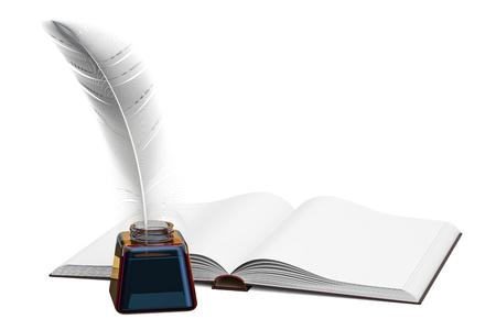 Leeres Buch mit Feder- und Tintenflasche, Wiedergabe 3D lokalisiert auf weißem Hintergrund Standard-Bild - 87966559