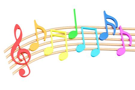 Kleurrijke muzieknota's, het 3D teruggeven op witte achtergrond wordt geïsoleerd die Stockfoto