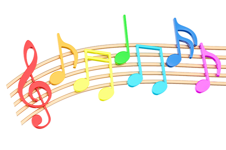 Note musicali variopinte, rappresentazione 3D isolata su fondo bianco Archivio Fotografico