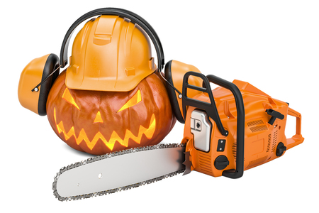 Halloween pumpkin with hardhat, ear defenders and chainsaw, 3D rendering Stock Photo