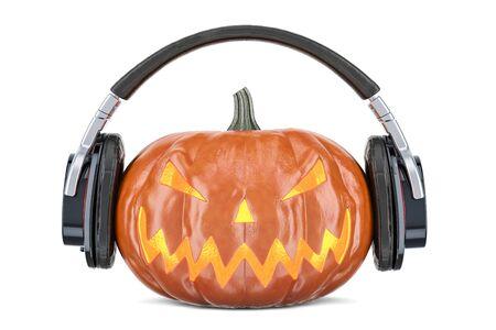 Halloween pumpkin with headphones, 3D rendering