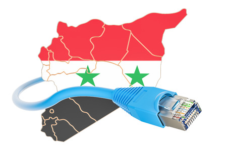 Internet connection in Syria concept. 3D rendering isolated on white background