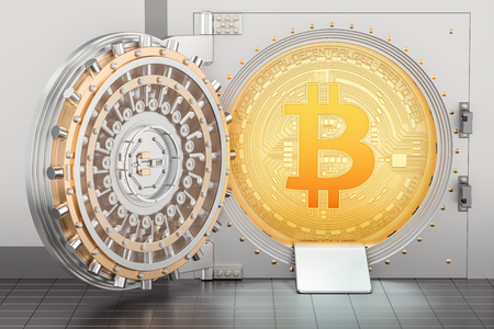 Opened bank vault with bitcoin, 3D rendering Stock Photo