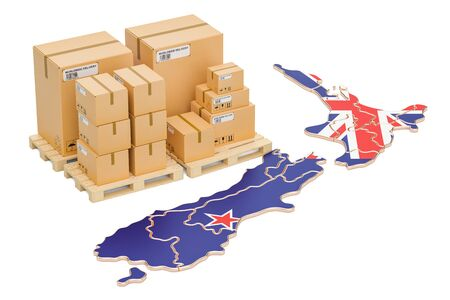 Shipping and Delivery from New Zealand isolated on white background Stock Photo