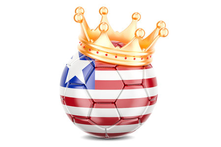 Soccer ball with flag of Liberia and golden crown, 3D rendering isolated on white background Stock Photo