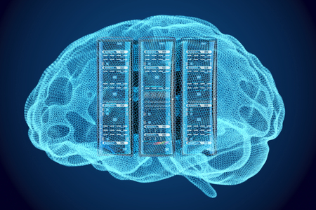 Artificial intelligence concept, Computer server racks inside brain, 3D rendering