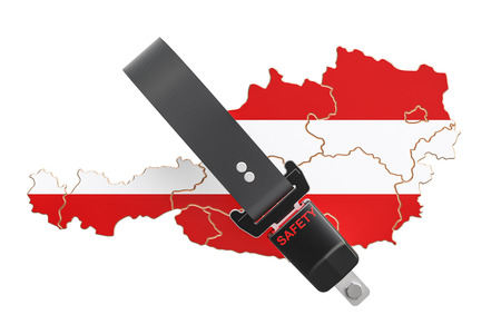 Austrian map with safety belt. Security and protect or insurance concept, 3D rendering