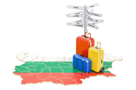 Bulgaria travel concept. Bulgarian flag on map with suitcases and signpost, 3D rendering