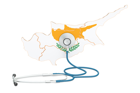 Cyprus map with stethoscope, national health care concept, 3D rendering