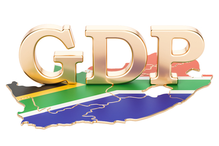 Gross domestic product GDP of South Africa concept, 3D rendering isolated on white background Imagens