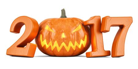 Halloween pumpkin 2017 concept, 3D rendering