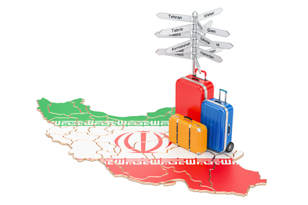 Iran travel concept. Iranian flag on map with suitcases and signpost, 3D rendering