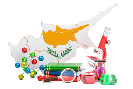 Scientific research in Cyprus concept, 3D rendering isolated on white background Stock Photo