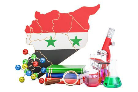 Scientific research in Syria concept, 3D rendering isolated on white background Stock Photo