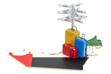 UAE travel concept. United Arab Emirates flag on map with suitcases and signpost, 3D rendering