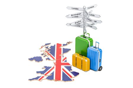 United Kingdom travel concept. British flag on map with suitcases and signpost, 3D rendering