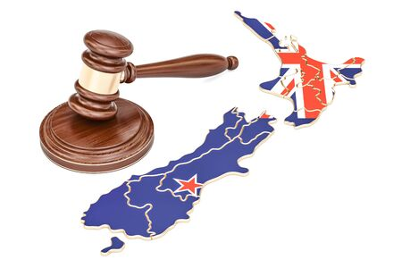 Wooden Gavel on map of New Zealand, 3D rendering isolated on white background