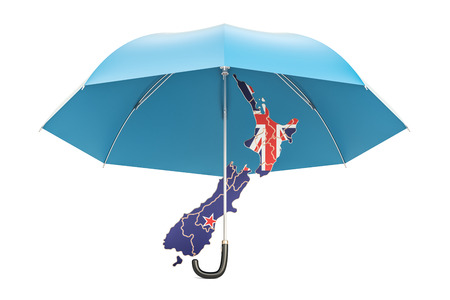 New Zealand map under umbrella. Security and protect or insurance concept, 3D rendering