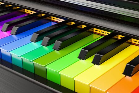 Piano colored keyboard, music concept. 3D rendering Stock Photo
