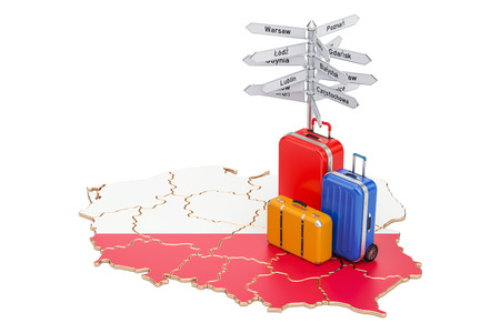 Poland travel concept. Polish flag on map with suitcases and signpost, 3D rendering Stock Photo