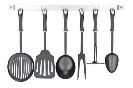 Set of kitchen utensils on a kitchen hook strip, 3D rendering isolated on white background