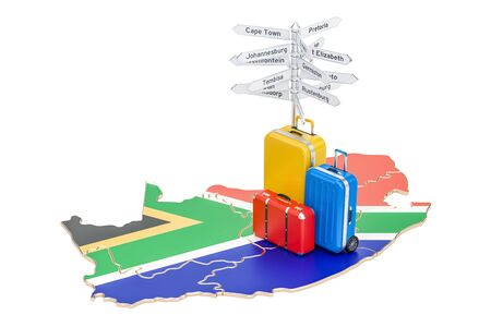 South Africa travel concept. Map with suitcases and signpost, 3D rendering