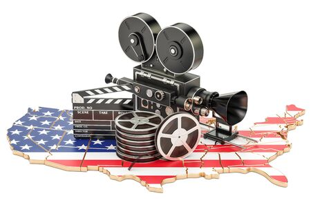 USA cinematography, film industry concept. 3D rendering isolated on white background
