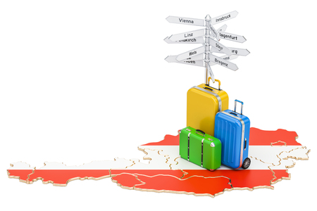 Austria travel concept. Austrian map with suitcases and signpost, 3D rendering