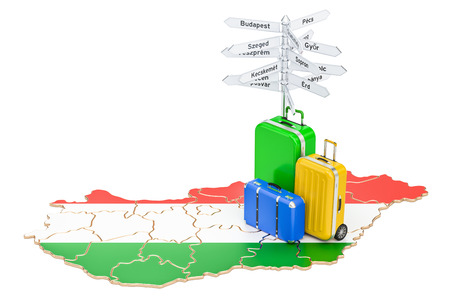 Hungary travel concept. Hungarian map with suitcases and signpost, 3D rendering