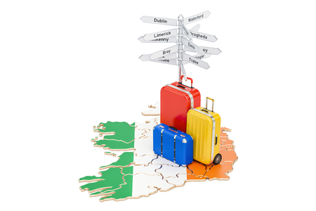 Ireland travel concept. Irish map with suitcases and signpost, 3D rendering