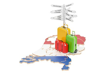 the hague: Netherlands travel concept. Holland map with suitcases and signpost, 3D rendering