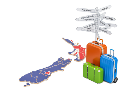 New Zealand travel concept. Map with suitcases and signpost, 3D rendering