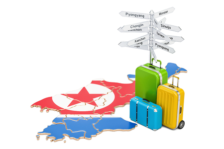 North Korea travel concept. Map with suitcases and signpost, 3D rendering
