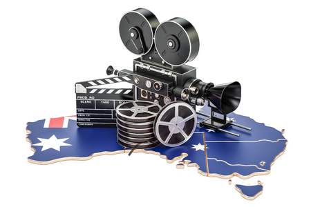 Australian cinematography, film industry concept. 3D rendering isolated on white background
