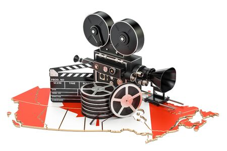Canadian cinematography, film industry concept. 3D rendering isolated on white background Stock Photo
